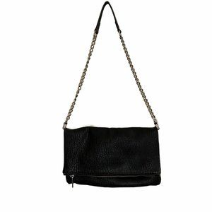 Express Black Faux Leather Textured Bag Chain